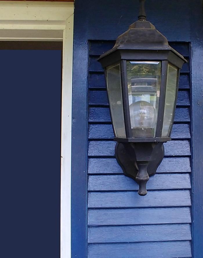 Light on blue shutter