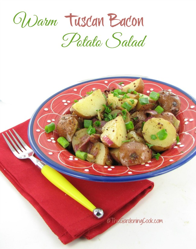 This warm Tuscan bacon potato salad is the perfect side dish for any barbequed meal. Your guests will love it!
