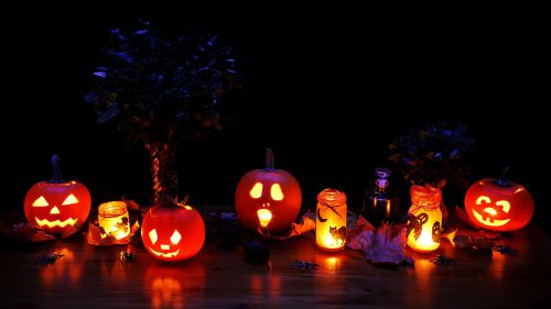 Traditional Halloween party colors are black, orange, yellow, purple and white