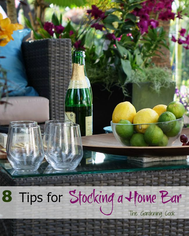 "Stocking a home bar is cheaper and easier than you might think. You just need a few bar tools and supplies and you can have ""Happy Hour"" at home."