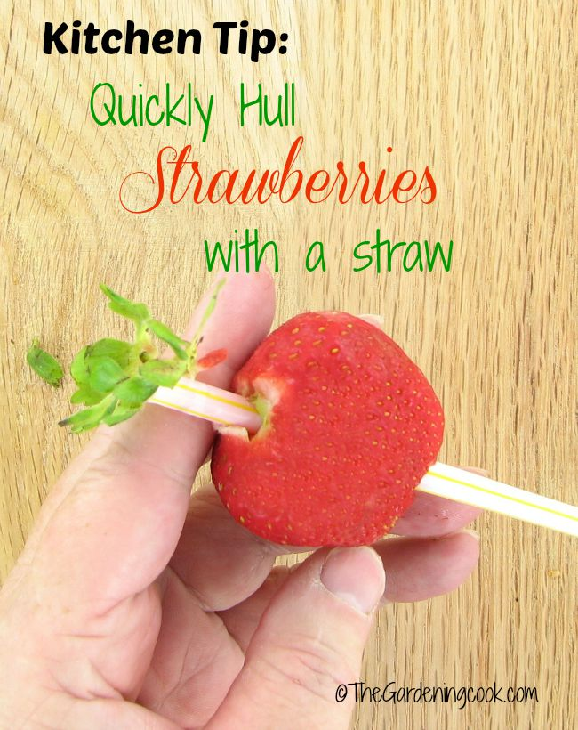 Today's kitchen tip:  Hull your strawberries easily with a drinking straw.