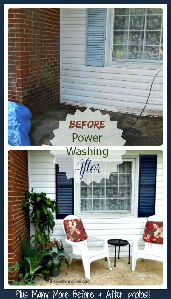 We power washed the whole front of our home. See all the before and after photos.