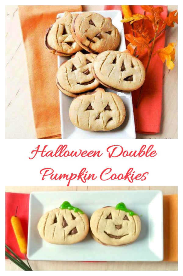 These fun Halloween pumpkin cookies have a sugar cookie outer layer with a creamy chocolate filling inside. They are perfect for a Halloween dessert table.