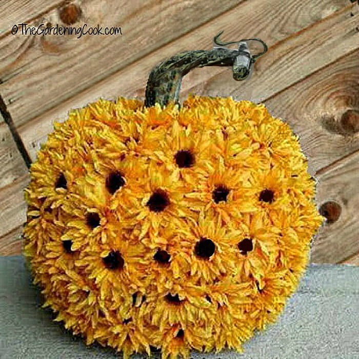 Pumpkin covered in sunflowers
