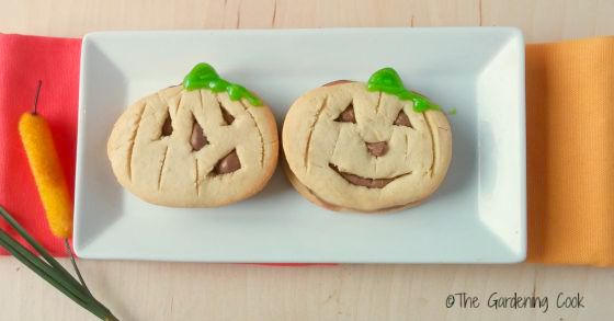 Halloween Pumpkin cookies with chocolate centers and green stems.