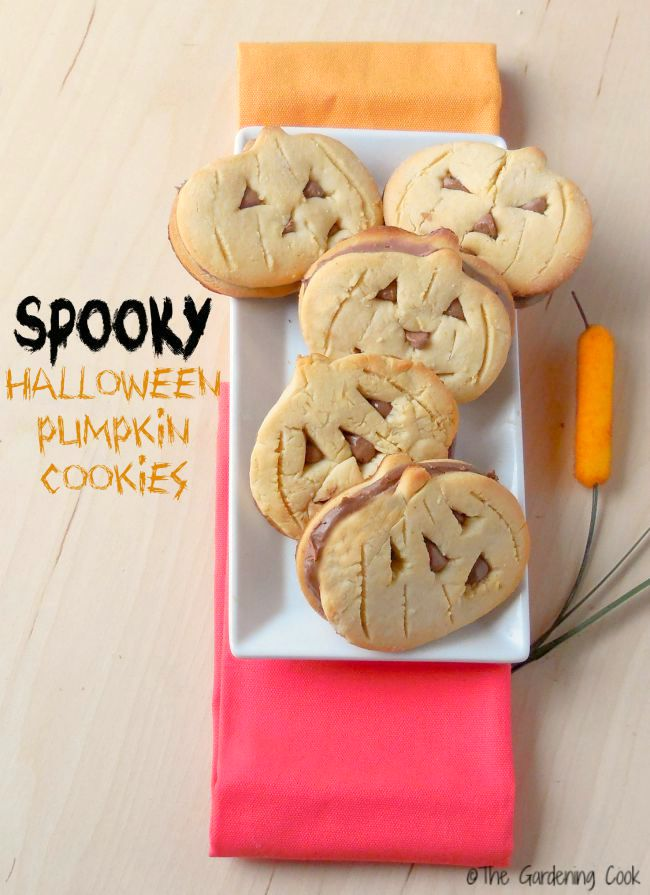 "Pumpkin cookies on a white plate with words reading ""spooky Halloween pumpkin cookies."""