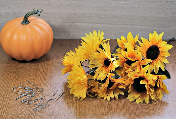 Pumpkin and sunflower with floral pins.