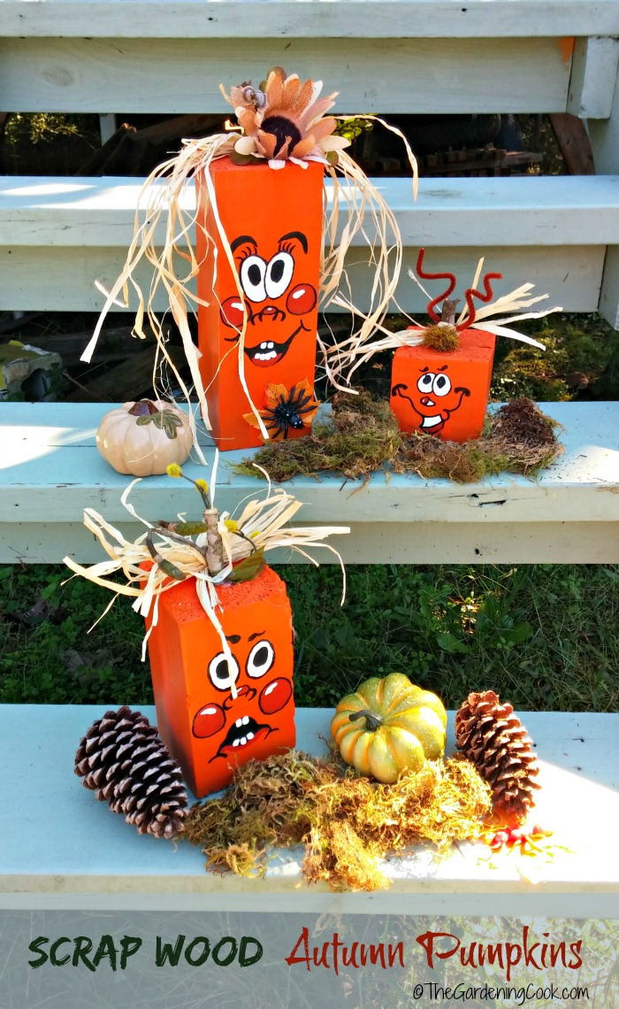 These DIY scrap wood pumpkins are easy to make, a lot of fun and add some great seasonal curb appeal to your front step. See my site for the tutorial as well as the free pumpkin face printable.. #reclaimedwood #scrapwoodpumpkins #halloweendecor