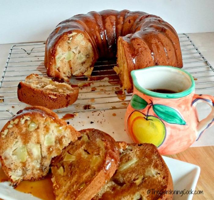 Apple cake with caramel honey glaze