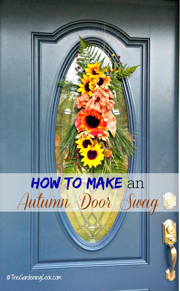 This autumn door swag decorates a glass panel on a front door so much better than a round wreath. It is much easier to make than you might think too!