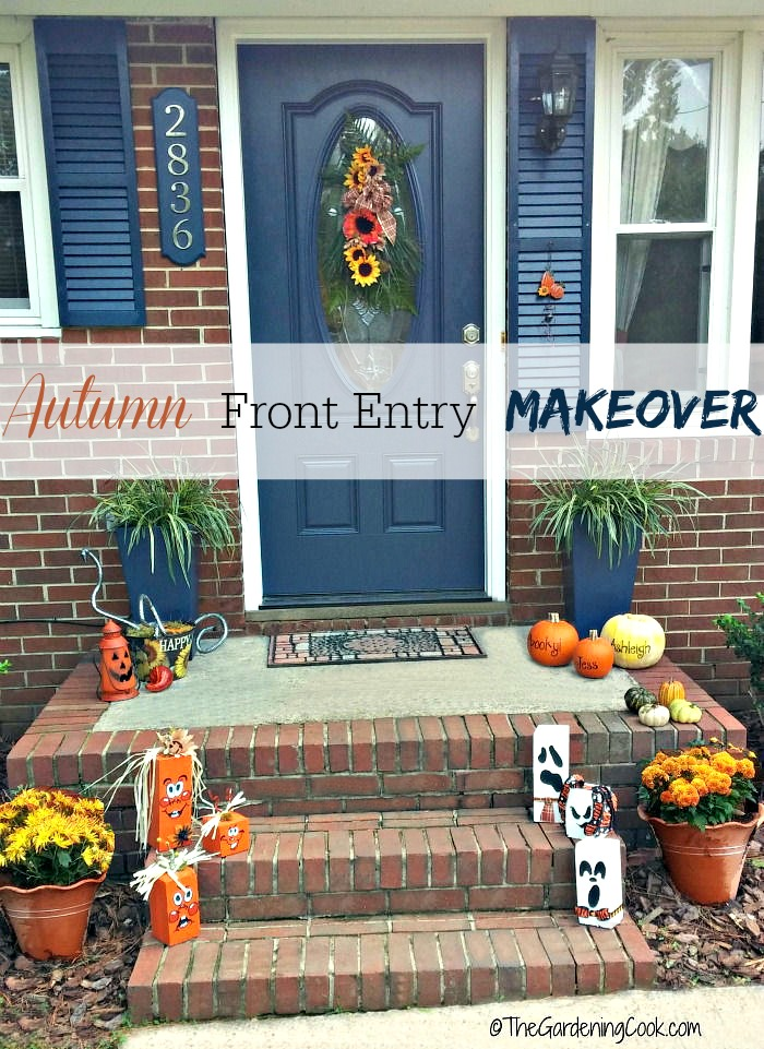 This budget friendly Autumn makeover makes use of many DIY projects, and a few small purchases to give great festive curb appeal to a front door entry.
