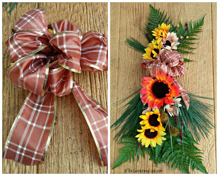 Add a floral bow to the door swag