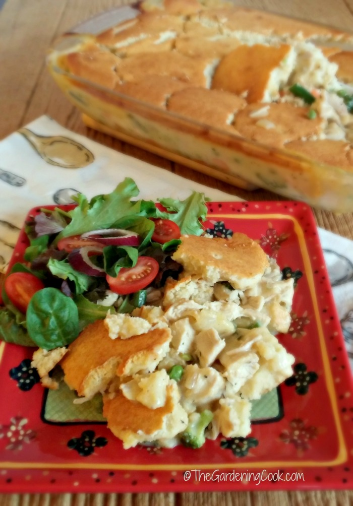 Southern chicken pot pie and salad