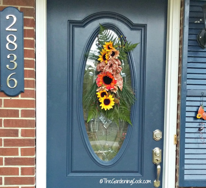 Festive autumn front door swag