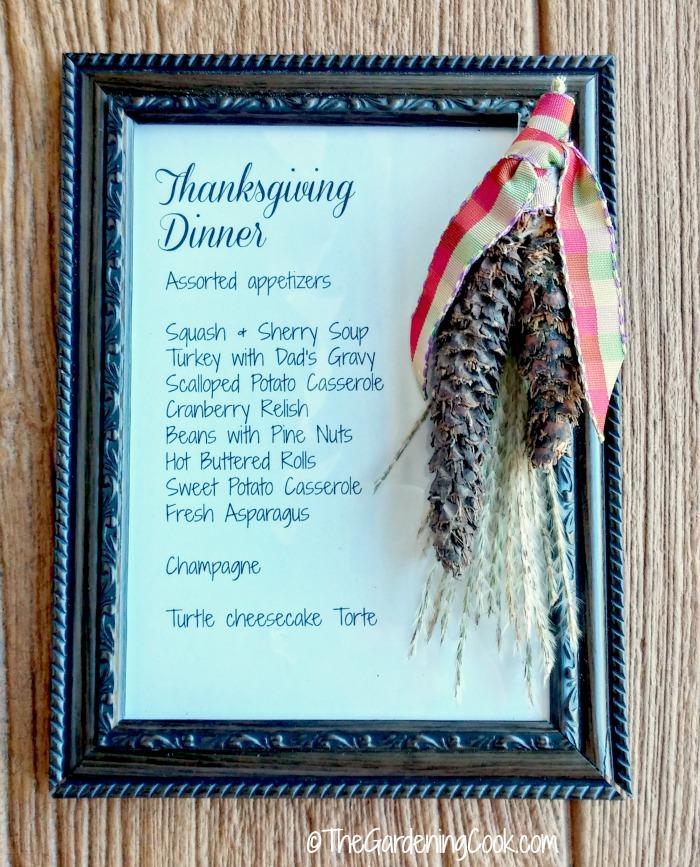 Thanksgiving dinner menu plaque