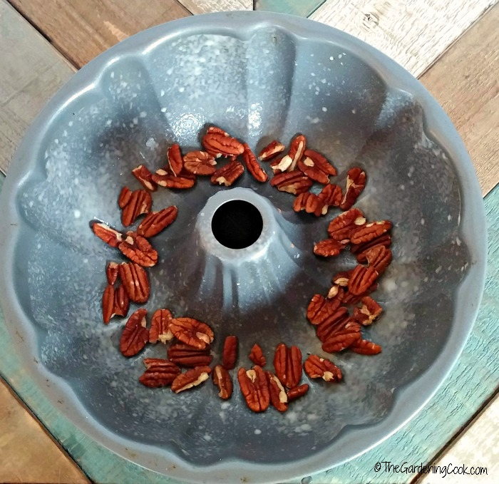 pecans in the bottom of the pan