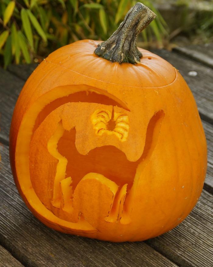 Pumpkin with a cat design