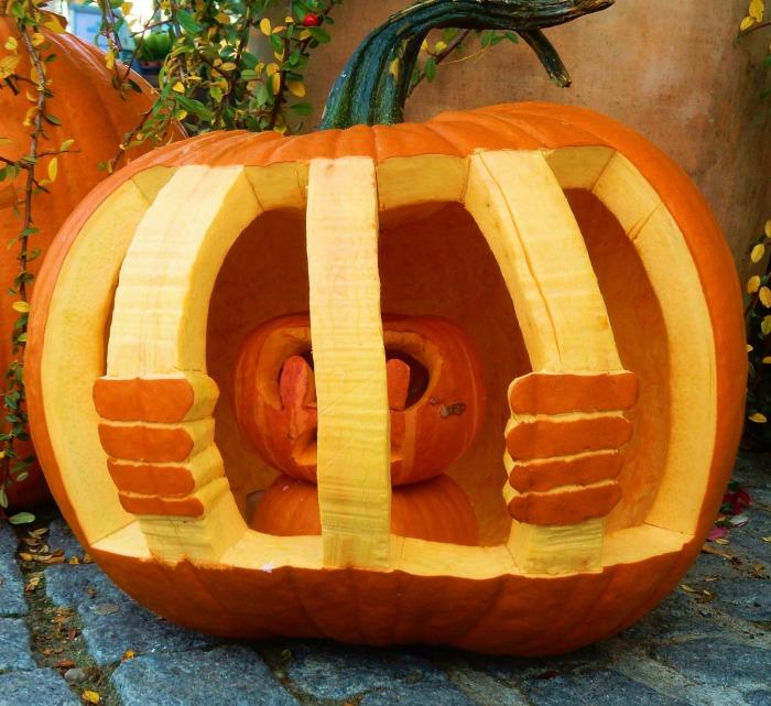 This small pumpkin is in pumpkin jail