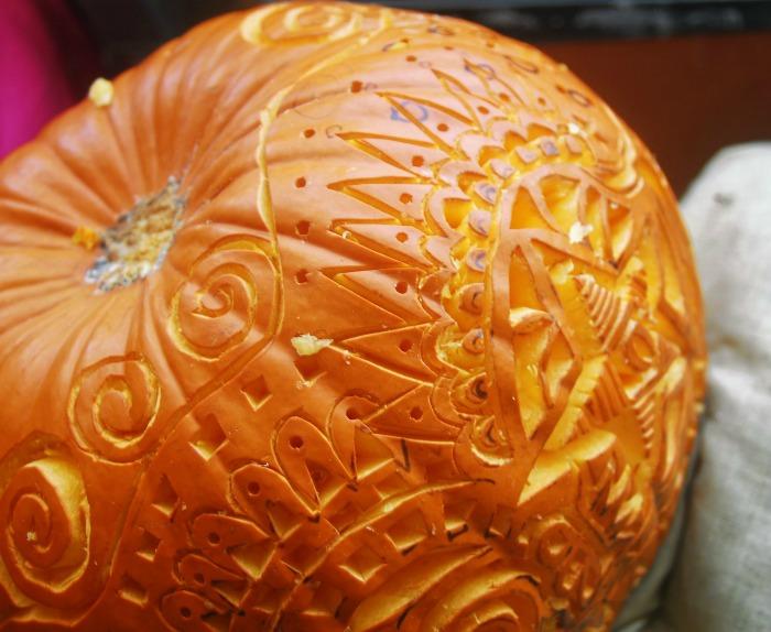 Ornately carved pumpkin