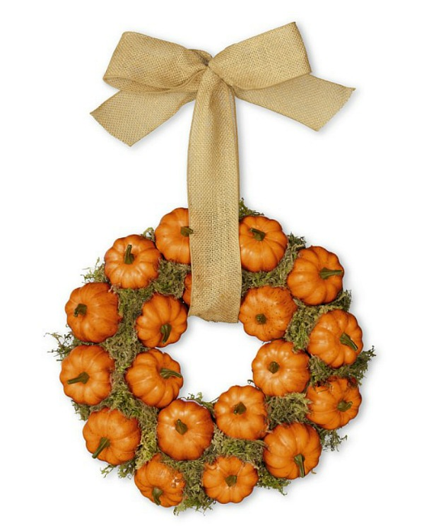 pumpkin wreath with burlap from williams-sonoma.com