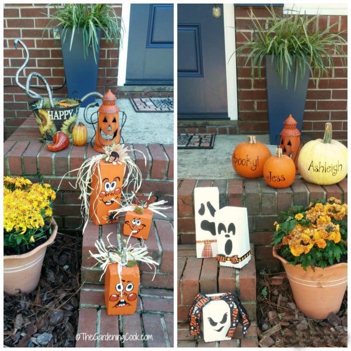 Festive scrap wood pumpkins and ghosts