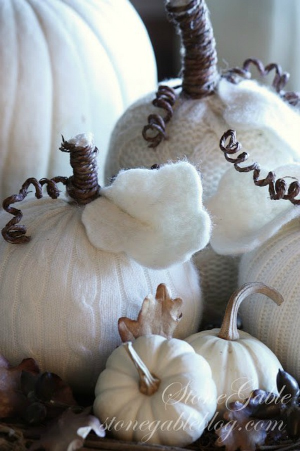 Sweater pumpkins from stonegableblog.com