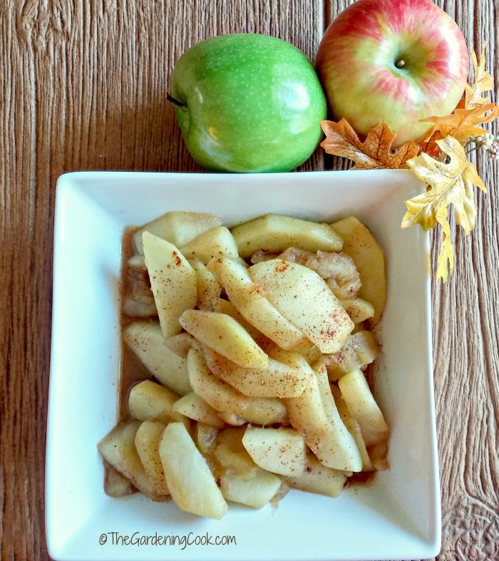 Warm cinnamon apples are the perfect side dish for a chicken pot pie