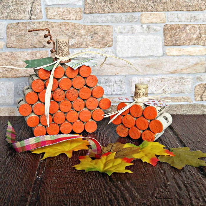 Wine cork pumpkins