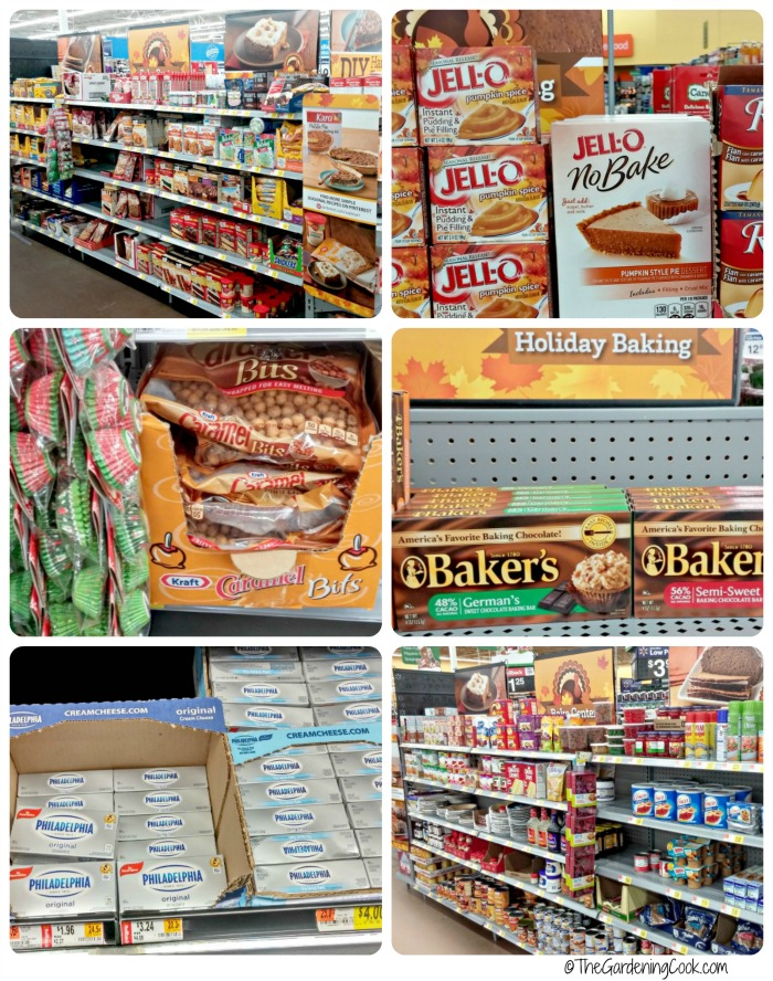 The baking center at Walmart has all your favorite baking needs for Thanksgiving.