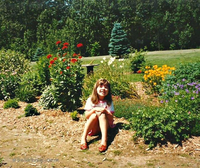 My daughter Jess in Mum's garden
