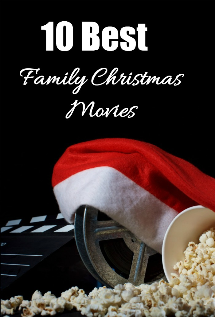 "Santa hat, film reel and popcorn with the words reading ""10 Best Family Christmas Movies."""