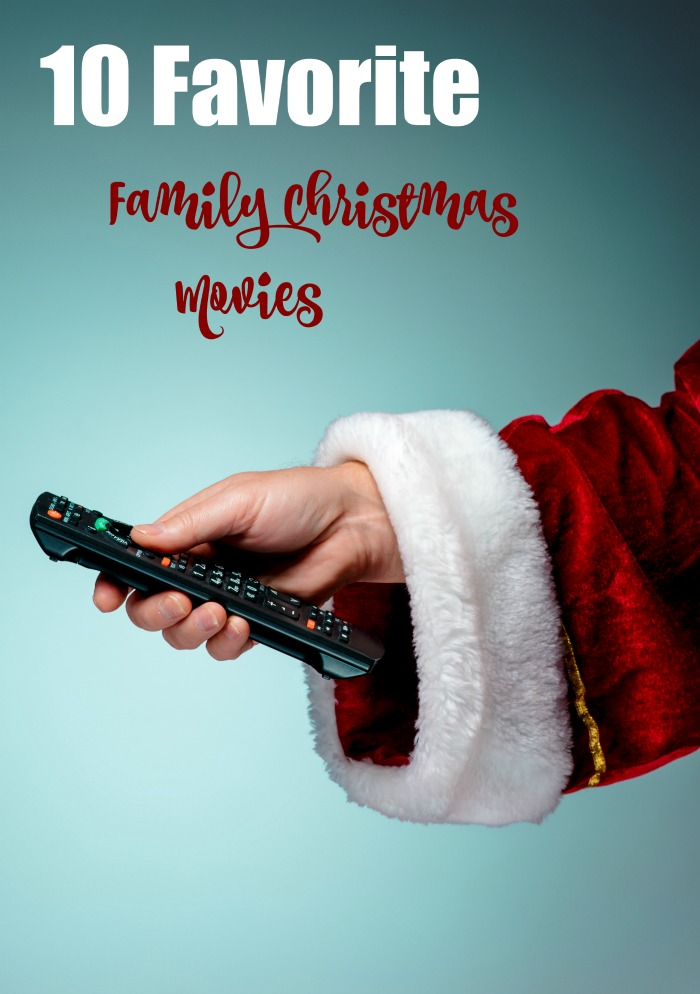 "Santa with TV remove and the words ""10 Favorite Family Christmas Movies."""