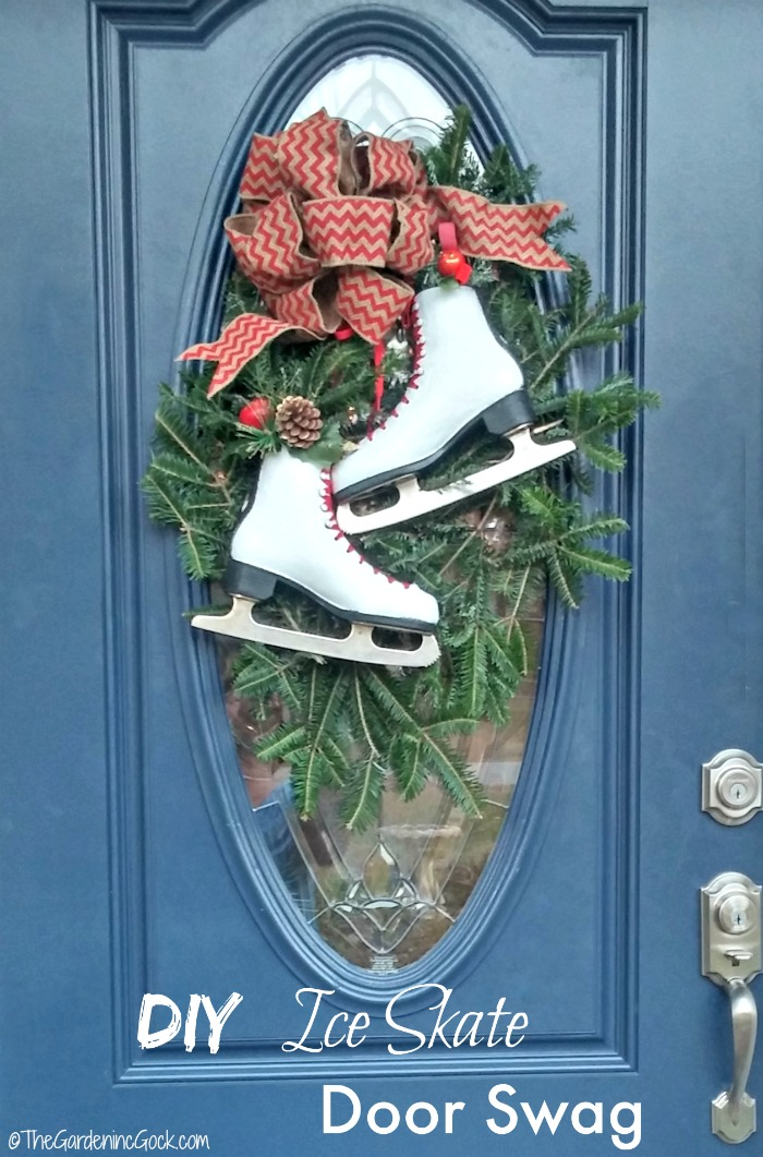 this festive ice skate swag looks perfect on a front door with an oval glass panel