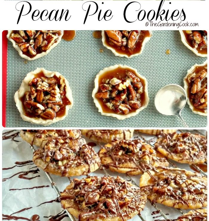 Cookie dough and baked cookies on a rack with words pecan pie cookies.