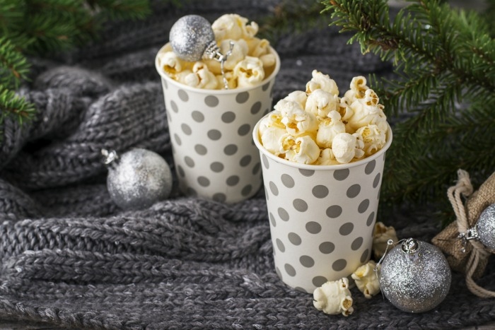 Popcorn in cups and Christmas ornaments
