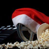 Santa hat with film reel and popcorn