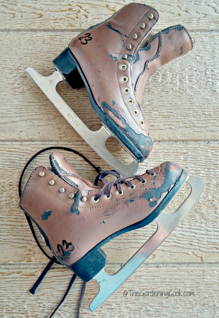 girl's ice skates that needed some TLC