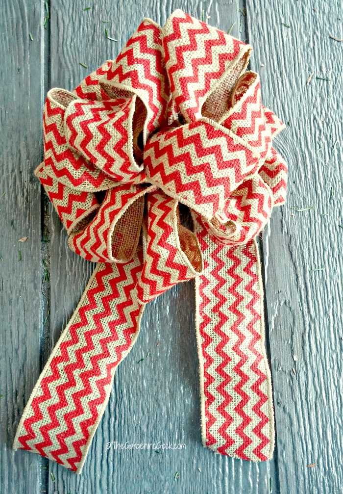 swag bow made from chevron burlap ribbon