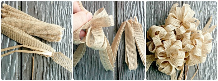 These pull open burlap ribbons made a nice bow when combined together