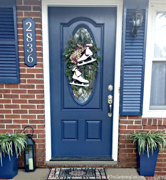 Front entry with Winter door swag makeover