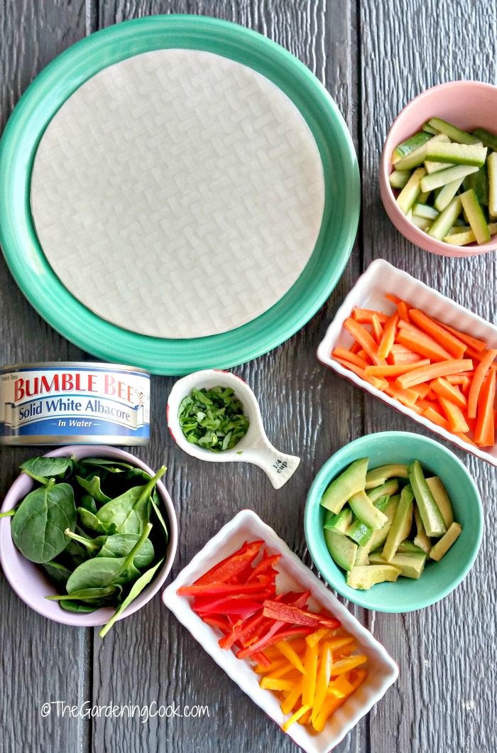 ingredients for Albacore tuna rice paper spring rolls