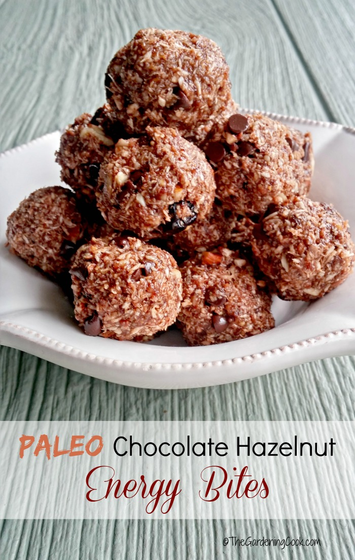 These Paleo espresso chocolate hazelnut energy bites pack a delicious punch. thegardeningcook.com