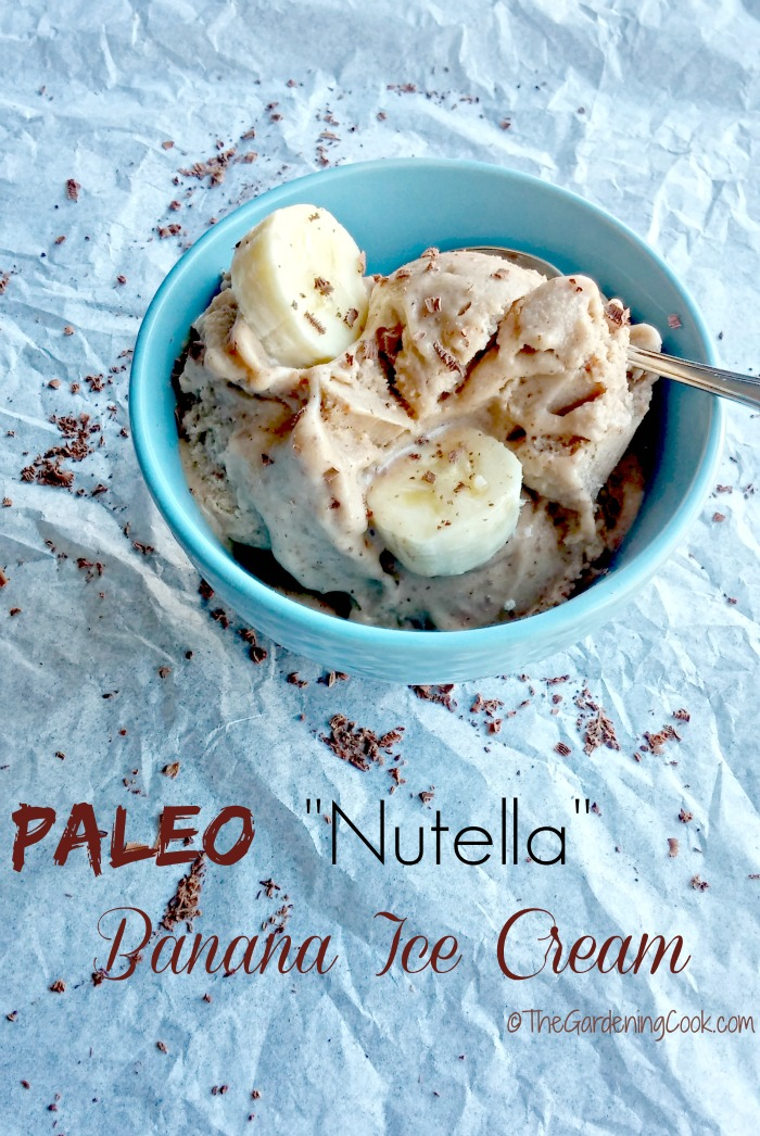 "This Paleo ""Nutella"" Banana Ice Cream is rich and creamy and my substitutes means that you can eat it on a Paleo diet without the guilt. thegardeningcook.com"