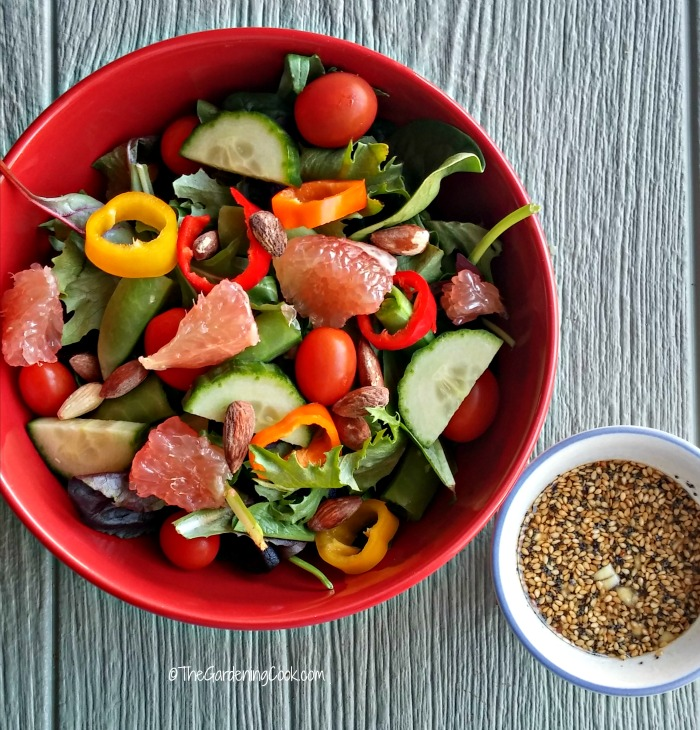 Grapefruit almond salad and dressing fits right in with my resolution to use moderation and smart choices