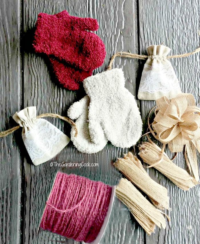 Supplies for Winter door swag makeover