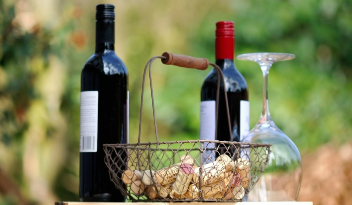 Basket of wine corks