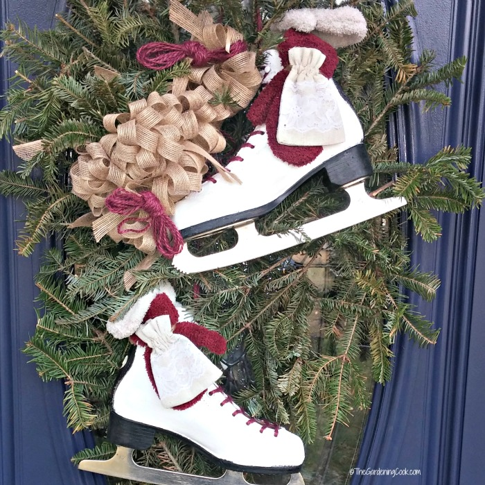 Ice skate door swag makeover