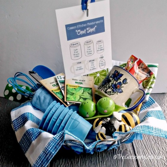 This kitchen conversion cheat sheet makes the perfect gift tag for your basket