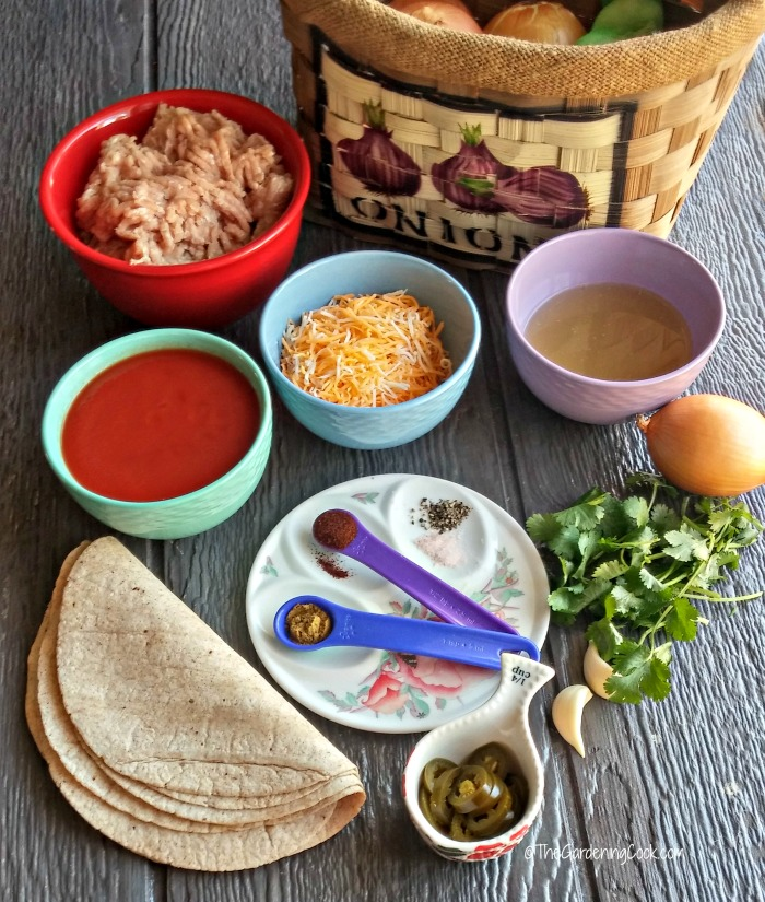 ingredients for skinny ground turkey enchiladas