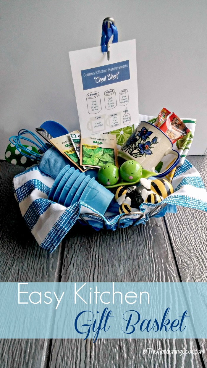 This whimsical gift basket is the perfect house warming or bridal shower gift. See my 8 easy tips to making the perfect kitchen basket. thegardeningcook.com BlissfulMoments #ad